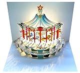 Pop Up 3D Karte Kinder Geburtstagskarte Geburtstag Gutschein Karussell Pferde 16x11cm
