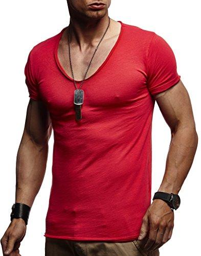 LEIF NELSON Herren Sommer T-Shirt V-Ausschnitt Slim Fit Baumwolle-Anteil   Moderner Männer T-Shirt V-Neck Hoodie-Sweatshirt Kurzarm lang   LN6280 Schwarz Small
