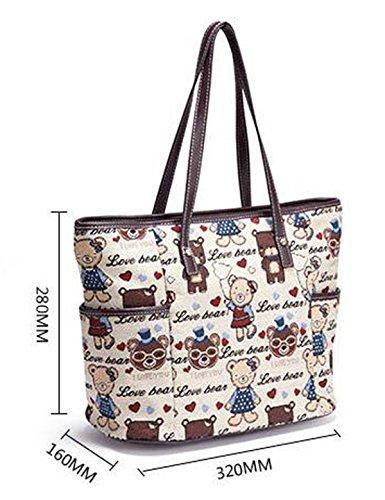 Tote Di Tela Delle Donne Borsa Dell'orso Di Winnie The Pooh Retro Sacchetto Di Spalla Di Svago Lady Bag Di Alta Capacità GreenCamouflageBear