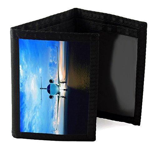 Preisvergleich Produktbild Flugzeuge 10040, Verkehrsflugzeug, Designer Schwarz Unisex Nylon Geldbörse Kreditkarte Holder Ripper Portemonnaie Geldbeutel mit Farbig Design.