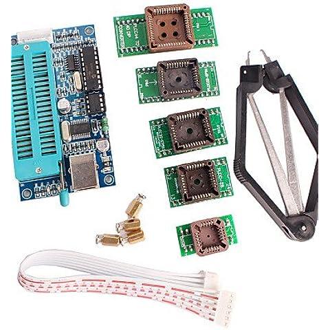 haisi PIC K150Programador USB Programación automática con PLCC IC de prueba Kit de adaptador de asiento para el Desarrollo microcontrolador