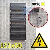 Elektro Badheizkörper ANTHRAZIT Badheizung 121x50 cm Handtuchwärmer DESIGN - ohne Schalter