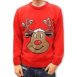 Jersey Rojo para Hombre y Mujer Unisex Navidad con Reno Rudolph Sonriendo - Talla L
