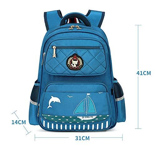 ChenYongPing Kinderrucksack Schule Grundlegender Rucksack Grundschule Bookbag Nylon wasserdichter Reiserucksack Klasse 1-7 Studenten (Farbe : Blau 2, Größe : Einheitsgröße)