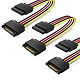 UGREEN SATA Power Cable Extension, 3 Pack SATA 15Pin Male to Female Extender Lead 12V / 5V Power Supply Cord for 2.5/3.5 Inch HDD SSD CD ROM Drive, PCIe USB Card, PSU, PC Motherboard, 20CM, 18AWG