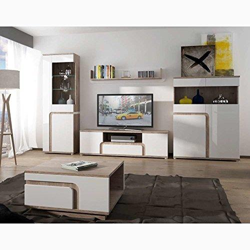 JUSThome MILANO I Wohnzimmerset Wohnzimmermöbel Wohnwand Farbe: Nelson Eiche / Weiß Hochglanz