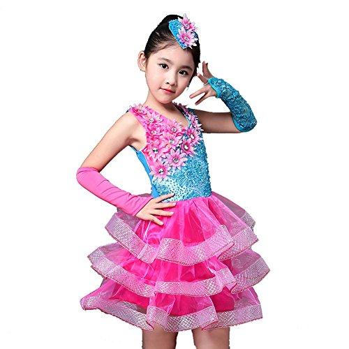 Wgwioo Kinder Blumenmädchen Brautkleid Foto Prinzessin Chor Performance Latin Ballett Praxis Tanz Rock Show Kleidung , Picture Color , 120Cm