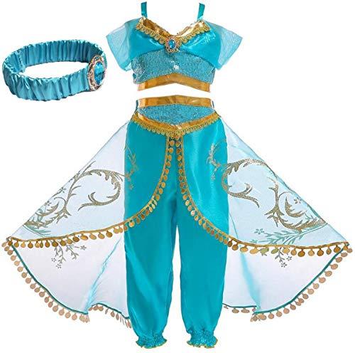 IWFREE Mädchen Kostüme Prinzessin Jasmine Aladdin Kostüm Verkleidung Faschingskostüm Bauchtanz Kleid Karneval Cosplay Party Halloween Festkleid Kleider Geburtstag Party Ankleiden (Jasmine Kleid Kostüm)