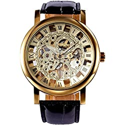 AMPM24 Classic Roman Golden Skeleton Mechanical Geniune Leather Business Mens Man Watch + AMPM24 Gift Box PMW217