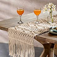 Ellementry Macrame Cotton Table Runner, 36 x 182 cm, Brown