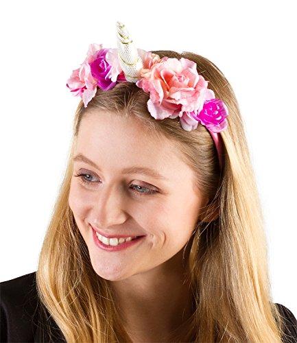 opfschmuck, Blumenkranz, Einhorn Kostüm, Blumen in rosa pink lila, pinker Reif, Karneval, Fasching Junggesellenabschied (315-599) (Pink Einhorn Kostüm)