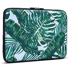 iCasso 11-13.3 Laptop Sleeve Palm Leaf Pattern Nylon Protecteur Cover Imperméable étui Housse pour MacBook Air, MacBook Pro, Tablet PC, Ultrabook, 11-13,3 Pouces Ordinateur Portable