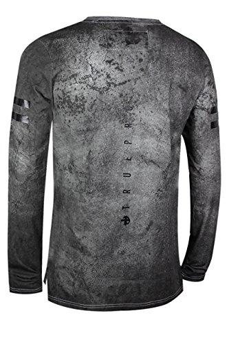 trueprodigy Casual Herren Marken Long Sleeve mit Aufdruck, Oberteil cool und stylisch mit Rundhals (Langarm & Slim Fit), Langarmshirt für Männer bedruckt Farbe: Grau 1073170-0403 Anthracite