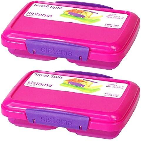 Sistema® Small Split Plastic Snack Fruit Breakfast Lunch Box Food Storage with Locking Clip Lid 350ml (Pink,