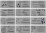 ID Türschild mit Bildern und Gravur nach Wunsch, Namensschild, Edelstahl, in 5 Größen, Schild Nr.3 (140x70 mm)