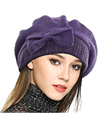 69bb02d91fa VECRY Lady French Beret - 100% Wool Beret Dress Beanie Winter Hat