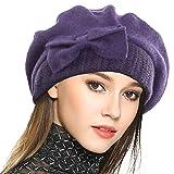 Frauen Barette 100% Wolle Baskenmütze Kleid Mütze Wintermütze (Lila)