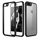 WireBizz silicone protective cover shell Transparent Hard Back with Soft Bumper Cushion Case / Cover for Apple iPhone 7 - Black