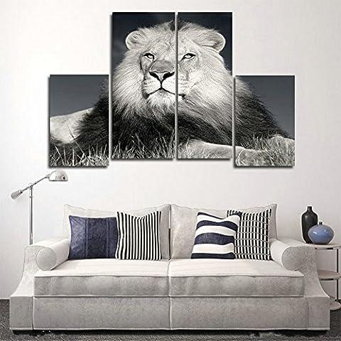 H.COZY 4 Equipo de lona de la impresión del tigre moderno pintura de paisaje imagen Animal de la sala de estar (No Frame) Sin MARCO far02 48x28 Pulgadas