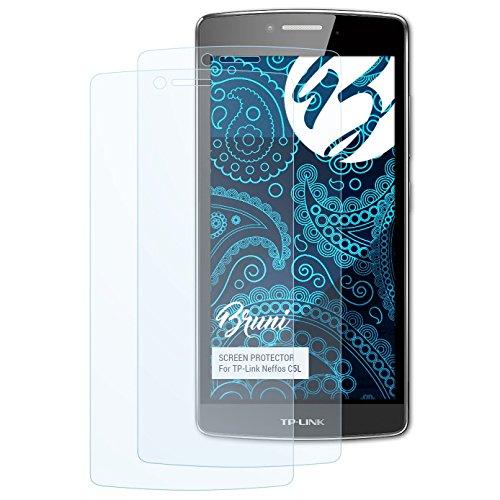 Bruni Schutzfolie für TP-Link Neffos C5L Folie, glasklare Bildschirmschutzfolie (2X)