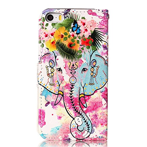 "MOONCASE iPhone 5/iPhone 5s/iPhone SE Handyhülle, [Colorful Relief Pattern] Stoßfest Ganzkörper Schutzhülle mit Ständer Leder Tasche Case für iPhone SE 4.0"" Butterfly Elephant"