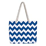 Canvas Tote Bag,Sundlight Striped Shopping Beach Bag Cotton Rope Handles with Zipper for Women