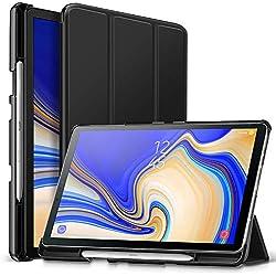 ZtotopCase Hülle für Samsung Galaxy Tab S4 10,5 2018 mit S Pen Halter,für Modell SM-T830/T835/T837,Leichtgewichts-Ultra Schlank Leder Hülle mit Ständer und Auto Schlaf/Aufwach Funktion,Schwarz
