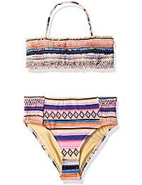 ce3faaa5ae Hobie Girls' Big Adjustable Bandeau Top & High Waist Bottom Swimsuit Set