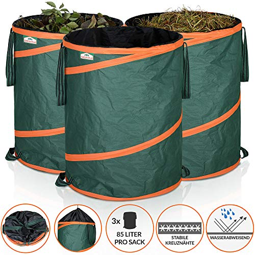 *Gardebruk Gartenabfallsack Pop Up Laubsack 3x 85 Liter = 255 Liter Gartensack verschließbar max. 30 kg*