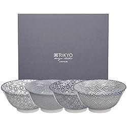 Tokyo Design Studio, Nippon Grey, 4 Schalen Set , 4-tlg., Ø 15.2 cm, Porzellan aus Japan