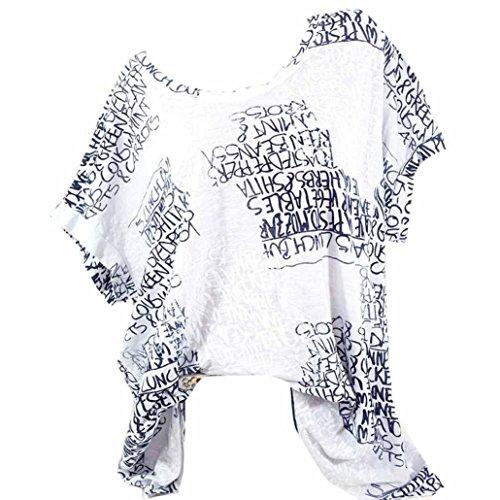 VJGOAL Damen T-Shirt, Damen Mode Kurzarm V-Ausschnitt Spitze gedruckte Spitze Tops Sommer lose T-Shirt Bluse (3XL / 50, X-Briefe-weiß)