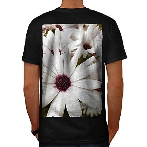 Weiß Blume Wild Natur Blume Schönheit Herren M T-shirt Zurück | Wellcoda
