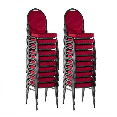 Bankettstühle 20er Set Konferenzstühle Saalstühle stapelbar rot