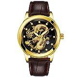 Herren Quarzuhr Gold Dragon Skulptur Armbanduhr für Damen und Herren Luxus Design mit Datum Kalender und Edelstah Band