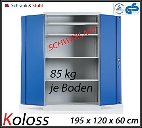 Werkstattschrank Koloss Schwerlastschrank 195x120x60cm GRAU/BLAU