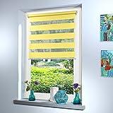 SUNWORLD Doppelrollo nach Maß, hochqualitative Wertarbeit, alle Größen und 18 Farben verfügbar, Rollo nach Maß, Duo Rollo, für Fenster und Türen, Klemmfix ohne Bohren (120cm Höhe x 50cm Breite/Gelb)