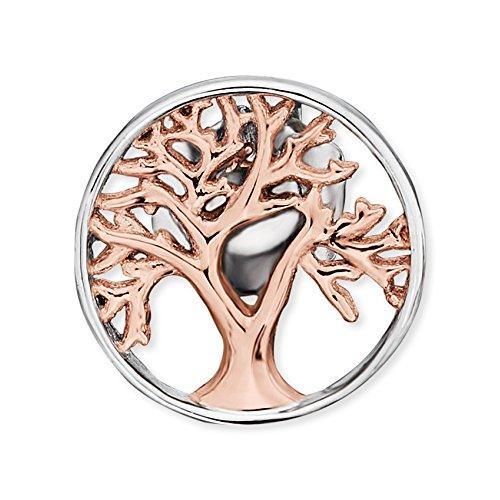 Engelsrufer Baum des Lebens Ohrstecker für Damen Bicolor Rhodiniert und Rosévergoldet 925er-Sterlingsilber Größe 12 mm