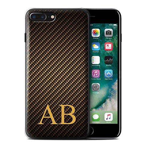 Personalisiert Kohlenstoff-Faser Muster Hülle für Apple iPhone 7 Plus / Blau Stempel Design / Initiale/Name/Text Schutzhülle/Case/Etui Gold Monogramm
