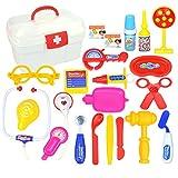 YAKOK 22Pcs Arztkoffer Kinder, Gelb Kinder Arztkoffer Arzt Spielzeug mit Stethoskop Kinderarztkoffer für Kinder Kleinkind Junge Mädchen ab 2-5 Jahre (Gelb)