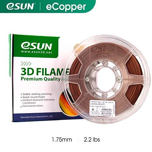 eSUN 1,75 mm eCopper 3D-Drucker Filament 1 kg Spule (2,2 lbs), Maßgenauigkeit/Toleranz +/- 0,05 mm für die meisten 3D-Drucker, 3D-Druckstifte Filament Nachfüller