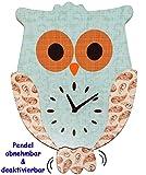 Unbekannt XL Wanduhr - Uhr aus Holz -  lustige Eule - türkis blau / grün  - 43 cm groß - sehr leise ! - Pendel abnehmbar - für Kinderzimmer & Wohnzimmer - Holzuhr - E..