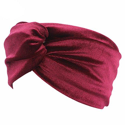ZUMUii Butterme Cruz de Terciopelo para Mujer Anudada Turbante Diadema Elástica Hairband Headwear Accesorios para El Cabello para Deportes de Yoga Ropa Informal(Vino Rojo)