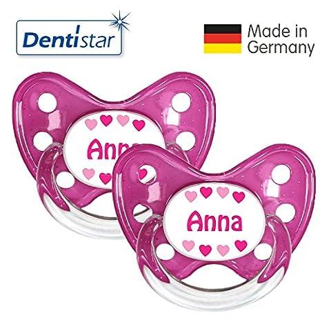Dentistar® 2er Set Silikon-Schnuller - Größe 3 ab 14 Monate - Nuckel zahnfreundlich & weich für Babys ab dem ersten Backenzahn, Rosa