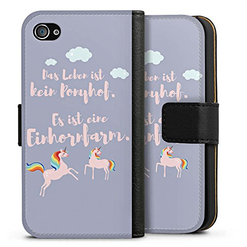 Apple iPhone X Silikon Hülle Case Schutzhülle Einhörner Spruch Ponyhof Sideflip Tasche schwarz