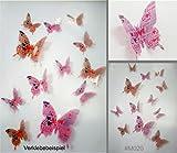 Stickerkoenig 3D Schmetterlinge 12 Stück Wandsticker, Wandtattoo Wand Deko mit 3D Flügel Klebepunkten Farbe Butterfly selbstklebend M020