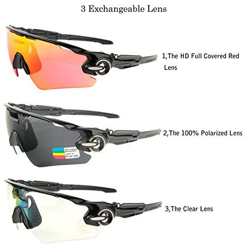 6562b846b9 Queshark Sports Polarized Cycling Sunglasses Bike Bicycle Glasses Goggle  For Men Women 3 Lens