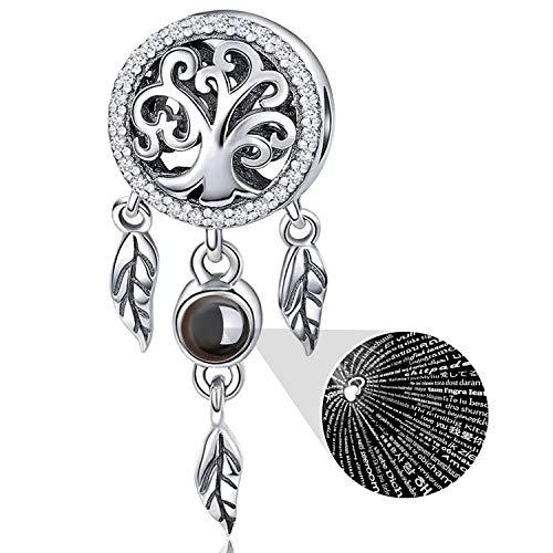 YOUFENG Jewellery - Abalorio de Plata de Ley 925 para Pulseras Pandora, Collar, 100 Idiomas de proyección atrapasueños