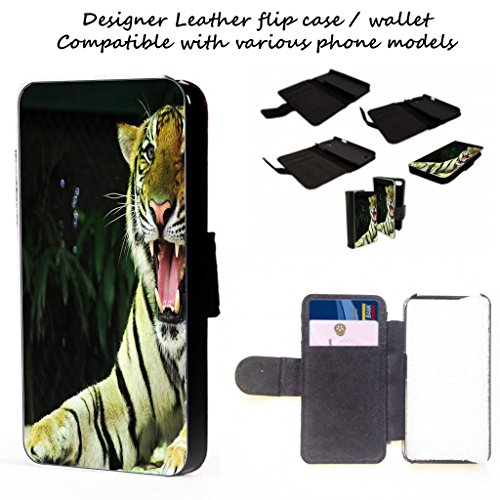 Tiger - iphone 4,5,c,s Leather Telefonabdeckung Fall Brieftasche Karten / I.D Raum (iPhone 5c) (Tiger-ipod-touch-fall)