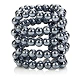 Center One ULTIMATE STROKER PENIS RING WITH 5 RINGS OF SMOOTH SILVER PEARL BEADS