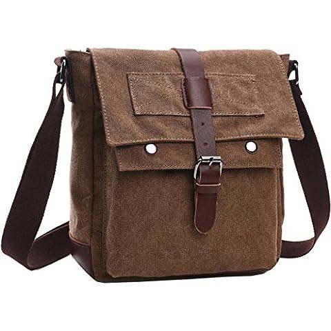 Super moderno vintage bolsa de mensajero Militar bolsa de lona bolsa de viaje de ocio Mensajero Crossbody Bolsa de hombro, Unisex, café, mediano